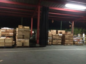 Wholesale produce boxes at regional spot market